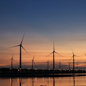 wind turbines on shore at dusk